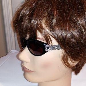 Brighton Sabrina Oval Blk Silver Plated Sunglasses